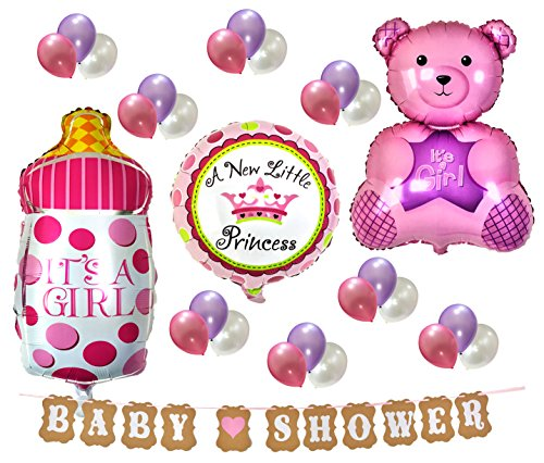 PartyPlace Baby Shower Decorations Set Brand, Baby Girl Baby Shower Banner with Cute Pink Bear, Its a Girl Pink Baby Bottle, Baby Shower Sign Banners and Metallic Balloons (Pink)