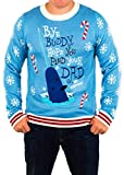 Men's Elf Holiday Narwhal Ugly Christmas Sweater in Blue By Festified (Medium)