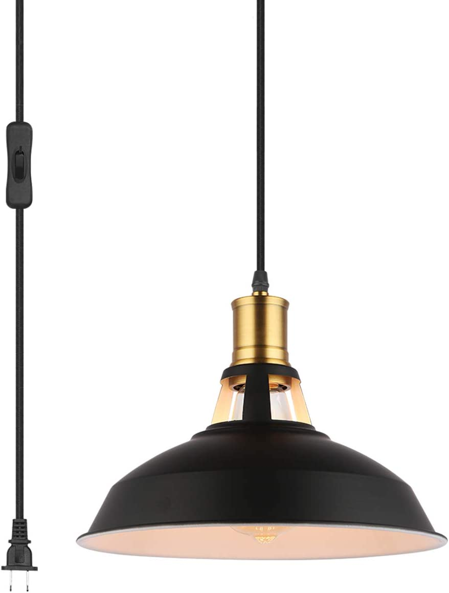 Pendant Light with Plug in 15Ft Braided Cord and Switch Rustic Hanging Lamp with Metal Shade Vintage Swag Lighting for Kitchen Island Dining Room Bar Counter BLACK-10.63