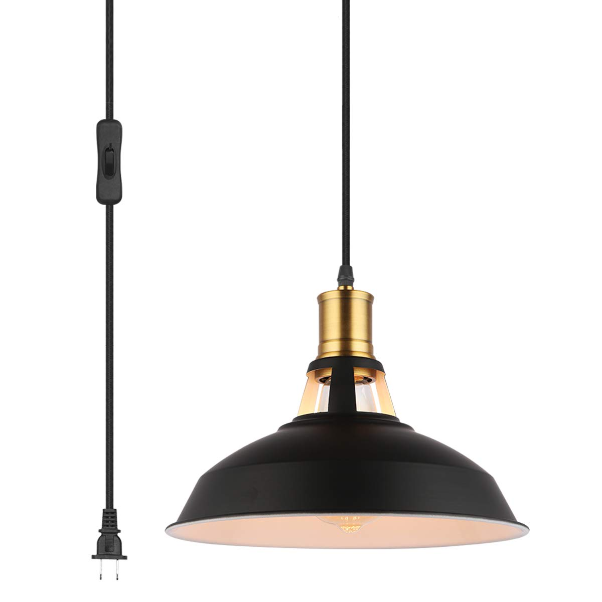 """Pendant Light with Plug in 15Ft Braided Cord and Switch Rustic Hanging Lamp with Metal Shade Vintage Swag Lighting for Kitchen Island Dining Room Bar Counter(BLACK-10.63"""")"""