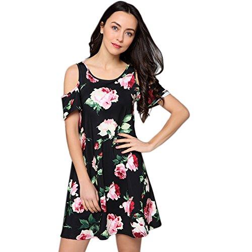 Id Wear Line (Idingding Women's A-Line Short Cap Sleeve Round Neck Wear Resistant Dress Floral Pattern Knee Length Top, CS Black Rose, L)