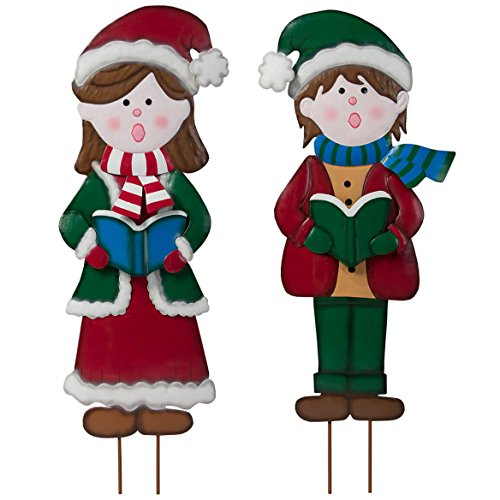 Metal Girl and Boy Carolers by Fox River Creations, Winter Holiday Yard Décor, Set of 2 Garden Stakes from Miles Kimball