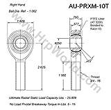 Aurora Bearing Company PRXM-10T; .625'' Bore - 3/4''-16 Thread - RH