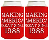 Republican Gifts for 30th Birthday Making America Great Since 1988 30th Birthday Gag Gifts for Republican Party 2 Pack Can Coolie Drink Coolers Coolies Red