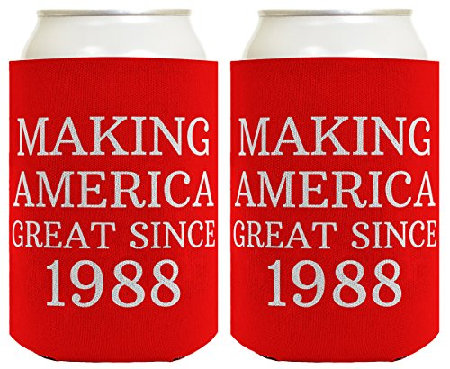 30th Birthday - Republican Gifts for 30th Birthday Making America Great Since 1988 30th Birthday Gag Gifts for Republican Party 2 Pack Can Coolie Drink Coolers Coolies Red