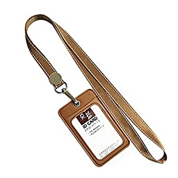 2 PCS Card Holder For Work/ ID Card/Credit Card, Brown