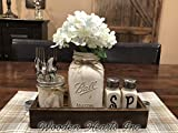 Ball Mason Jar KITCHEN Table Centerpiece SET Antique WHITE TRAY ~Salt and Pepper Shakers, Pint Vase Jar with FLOWER~Distressed Painted Jars, Accessory Holder Green Brown Cream White Tan Blue