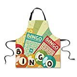 iPrint Cooking Apron,Vintage Decor,Bingo Game with Ball and Cards Pop Art Stylized Lottery Hobby Celebration Theme,Multi,3D Print Apron.29.5''x26.3''