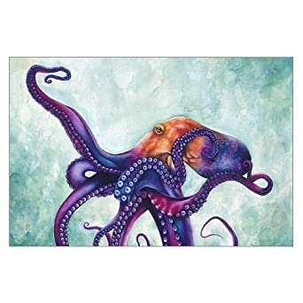 Innovation Art Painting Rainbow Octopus Canvas Print 18u0026quot; X 12u0026quot;  Inch, Stretched And