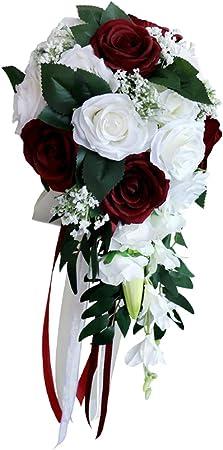 Loviver Bouquet De Mariée Bouquet De Fleurs Artificielles Nuptial Accessoire De Mariage Fête Anniversaire Blanc Vin Rouge