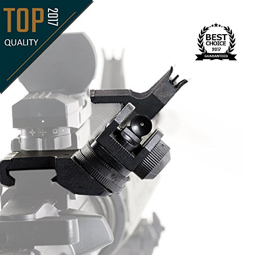 Hojan Outdoor Sports Tactical Low-Profile 45-Degree Front & Rear Offset Backup Iron Sights for Standard AR Style Picatinny Mount Co-Witness Sights Target Accessories