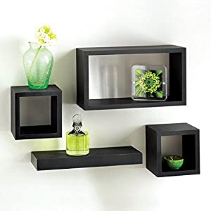 Set Of Black Wooden Wall Mounted Retro Floating Cube Shelving - Cube shelves