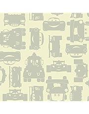 York Wallcoverings Walt Disney Kids II Lightning and Mater Wallpaper Memo Sample, 8-Inch x 10-Inch, Cream/Light Grey