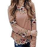 Noopvan Casual Blouse,Women Floral Printed Tie Front O Neck Long Sleeve Tops Fall Blouses (L, Khaki)