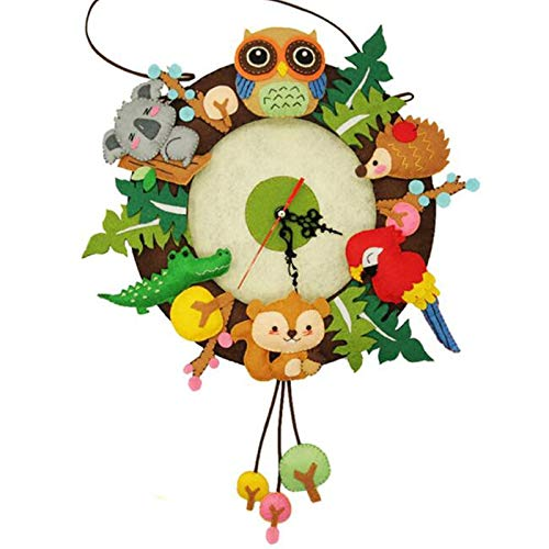 MOJITO LIVING Hot Sell Felt Wall Clock Felt Material DIY Package Free Cutting Forest Animal Theme Handmade Cloth Clock For Home Decoration New ()