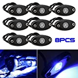 LEDMIRCY LED Rock Lights Blue Kit for JEEP Off Road Truck ATV SUV Boat Car Auto High Power Underbody Glow Neon Trail Rig Lights Underglow Lights Waterproof Shockproof(Pack of 8,Blue)