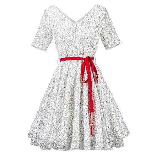 Vestido Con El Mujer XIU Manguito Collar Un La Central V De Amarre white De Vestuario RONG a7qqwBHF