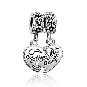 Madre Hija Love Mum Pugster pendientes largos con forma de corazón 925 colgante de plata colgantes pulseras Pandora cuentas de ajuste