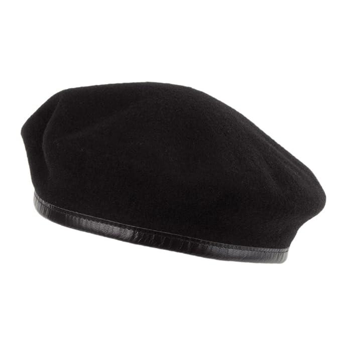 Village Hats Boina militar francesa de lana Merino de Laulhère - Negro   Amazon.es  Ropa y accesorios 35f30311bb5
