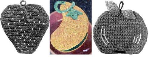 Frutas y verduras agarraderas a Crochet