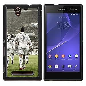 Ronaldo 7- Metal de aluminio y de plástico duro Caja del teléfono - Negro - Sony Xperia C3 D2533 / C3 Dual D2502