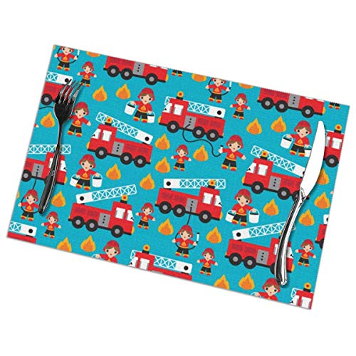 - Fire to The Rescue Fire Fighters Fire Truck Placemats Plate Mats for Dining Table Set of 6