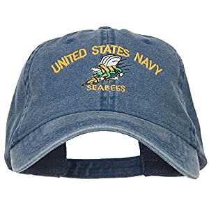 E4hats US Navy Seabees Embroidered Washed Cap