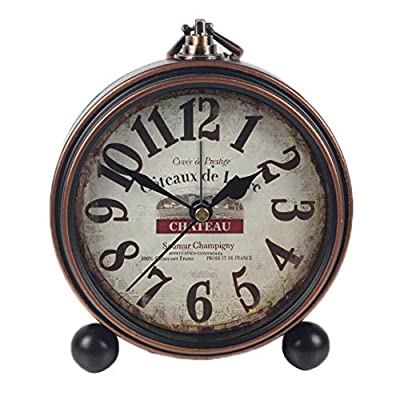 JUSTUP Retro Table Clock, Non-Ticking Beside Table Desk Alarm Clock Vintage European Style Desk Shelf Mantle Clock Silent Metal Battery Operated for Kids Bedroom Living Room (B) - SILENT: Non-ticking, smooth sweeping quartz movement and second hand, ensure a good sleep and best working environment. VINTAGE EUROPEAN STYLE: Retro classical design europe style clock, takes you back to 80's. Bring home furnishing high-end elegant atmosphere. EASY TO READ: Large numerals analog clock dial, easy to use, easy to read, perfect for kids or seniors - clocks, bedroom-decor, bedroom - 51nFzSs6ipL. SS400  -