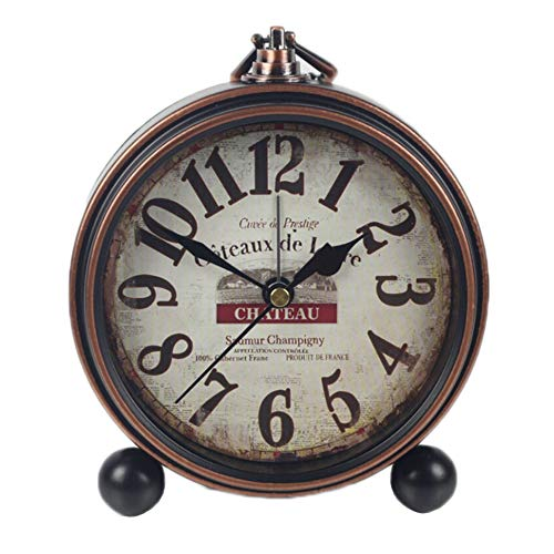 Justup Retro Table Clock, Non-Ticking Beside Table Desk Alarm Clock Vintage European Style Desk Shelf Mantle Clock Silent Metal Battery Operated for Kids Bedroom Living Room (B) ()