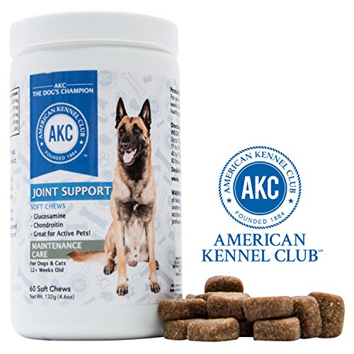 Only 60 Tablets - American Kennel Club AKC Joint Support Supplements For Dogs With Glucosamine, Chondroitin and Fish Oil - Advanced Dog Joint Pain Relief - 60 Soft Chewable Tablets, Made In USA Only