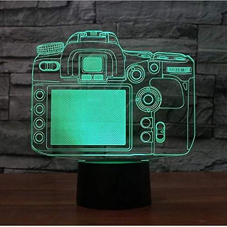Creativo Modelado De Cámara 3D Led Botón Táctil Lámpara De Mesa 7 ...
