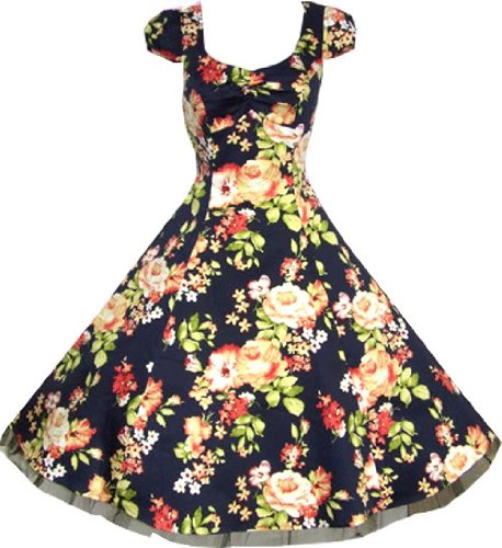 Pretty Kitty Fashion - 50s swing vintage floral marina pin-up té vestido s