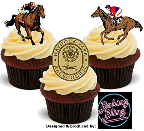 12 x Horse Racing Haydock Racecourse Races Mix - Fun Novelty Boys Birthday PREMIUM STAND UP Edible Wafer Card Cake Toppers -