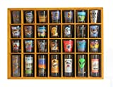 28 Shot Glass Shooter Display Case Holder Cabinet Rack, solid wood, NO Door, (Oak Finish)
