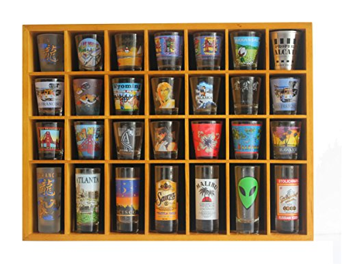28 Shot Glass Shooter Display Case Holder Cabinet Rack, solid wood, NO Door, (Oak Finish) (Shot Shooter)