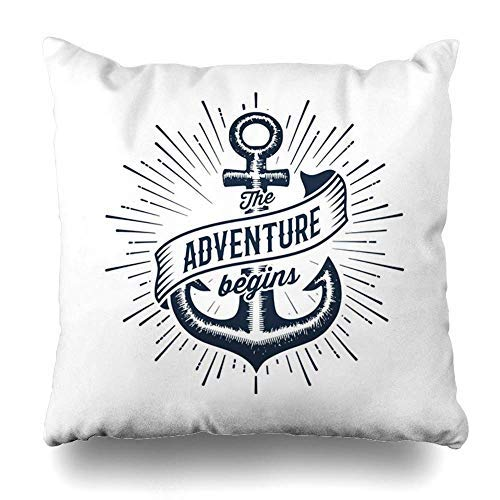 Tattoo Vintage Label Anchor Slogan Adventure Begins Apparel Pirate Nautical Decorative Throw Pillow Covers 18×18 Farmhouse Couch Cushion Covers Gifts for Girls,for Women,for Mom