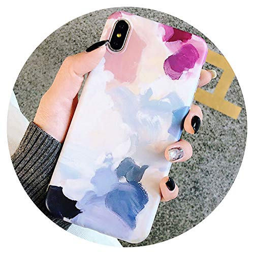 (Watercolor Painting Phone case for iPhone X XS XR XS Max 7 8 6 6S Plus Scrub Soft TPU Case Protection Back Cover capa,for iPhone)