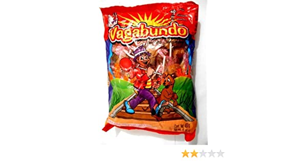 Amazon.com: Vagabundo Hard Candy Lollipop w/Chilli Powder Mexican Candy 40 pc by Dulces & Salsas Vagabundo: Everything Else
