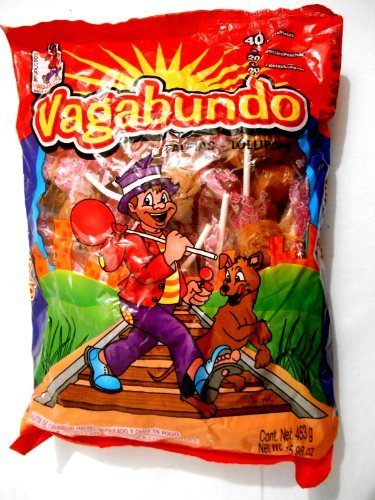 Vagabundo Hard Candy Lollipop w/Chilli Powder Mexican Candy 40 pc by Dulces & Salsas