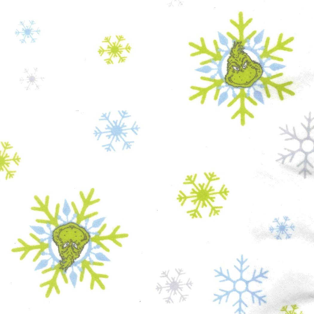 美しいホワイトブルーグリーンGrinchフランネルFittedベビーベッドシート、クリスマステーマNursery寝具、幼児子幼児用ドクタースース雪片冬雪Cartoon Characterかわいい愛らしい、コットン   B07BN41Y4D