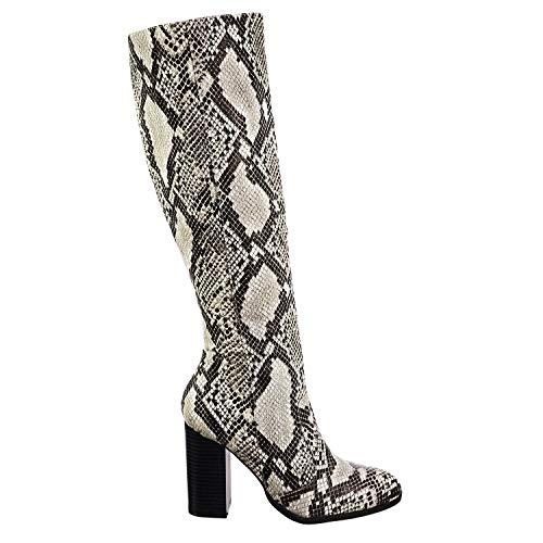 Aquapillar Faux Fur Inner Lining High Block Heel Dress Boots w Snakeskin ()