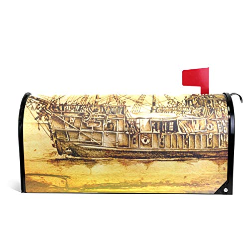 MAPOLO Antique Boat Sea Motive Drawing Magnetic Mailbox Cover Oversized