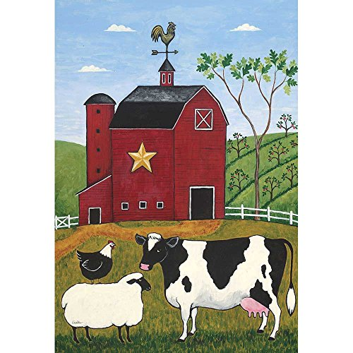 folksy-barnyard-with-dairy-cow-sheep-and-chicken-18-x-13-rectangular-screenprint-small-garden-flag