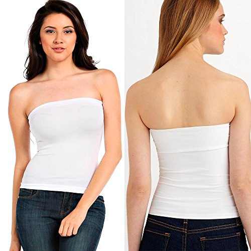 - 1 Basic Tube Top Strapless Stretch Tight Fitted Club Body Con Seamless White