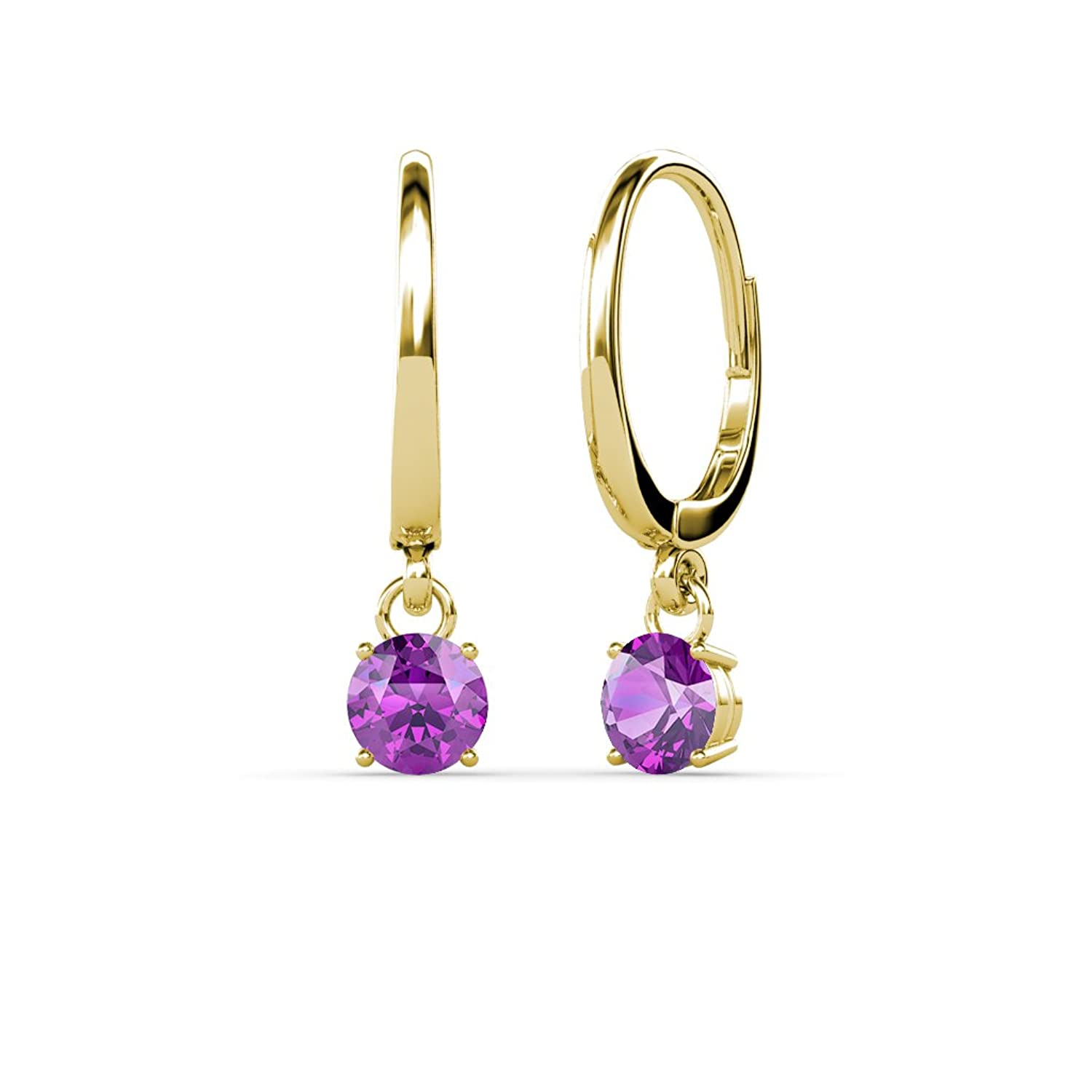 Amazon Amethyst 4mm Four Prong Solitaire Dangling Earrings 0 50