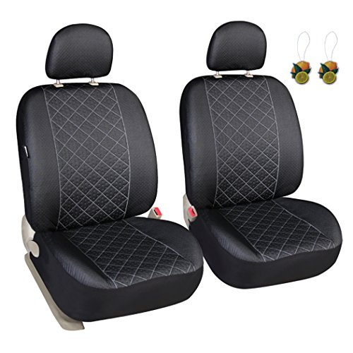 Leader Accessories Elegance 2 Front Seat Covers, Airbag compatible, Solid Black Color - Fits Most Car, Truck, Suv, or Van