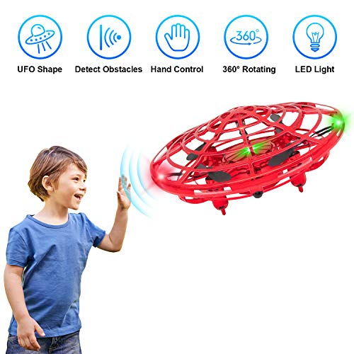 Flying Toys Drones for Kids, 2019 Improved Flying Ball Drone Toy with Infrared Sensor Auto-Avoid Obstacles 360°Rotating LED Light, Mini Quadcopter Hand Operated Drones for Boys or Girls (Best Beginner Drone 2019)