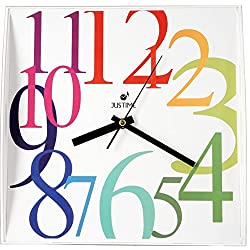 ISHIWA 12-inch Modern Contemporary Square Non-ticking Wall Clock Convex Glass Lens Home Decor (W40450-w Rainbow)