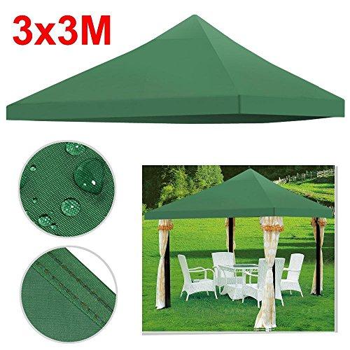 Yahee Pavilliondach Ersatzdach wasserdicht für Pavillon Partyzelt Festzelt 3x3 Meter in 2 Farbe (Grün)