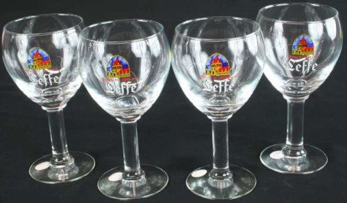 Vintage Belgian Set of 4 Leffe Abbey Beer Glasses